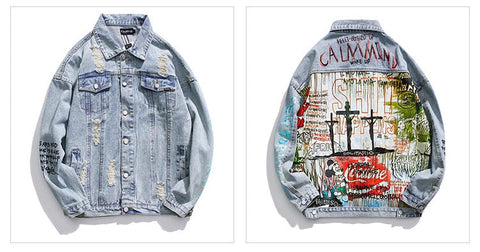Calm mind Lucky Ghost Little Demon Graffiti Print old Damaged Hole Denim Jacket