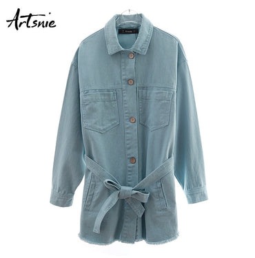 double pockets casual sashes loose long Denim Jackets