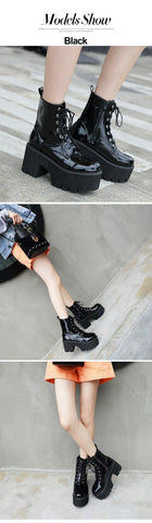 Lace Chunky Wedge Platform Black Patent Leather Ankle Boots