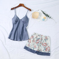 Pajamas With Chest Pad Spaghetti Strap Shorts Twinset Sleepwear