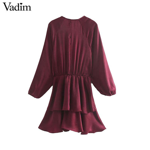 retro solid V neck mini long sleeve elastic waist casual vintage dresses