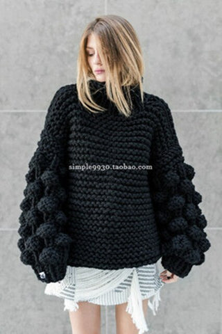 Casual Punk Turtleneck Lantern Sleeve Polyester Thick Boho Bohemian Sweaters