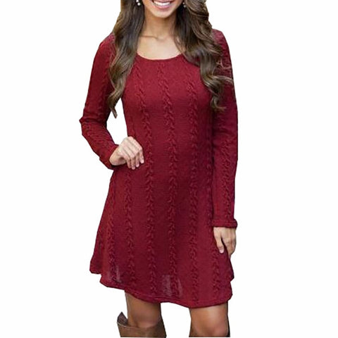 Long Sleeve Mini A Line Knitted Sweater Dresses