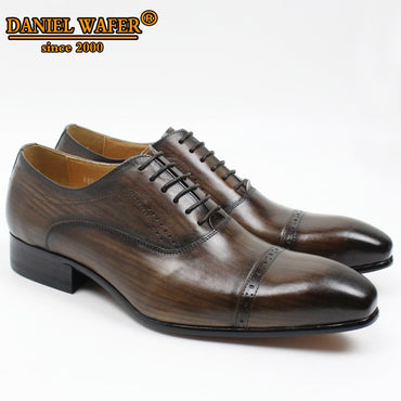 Genuine Leather Lace Up Cap Toe Oxford Shoes