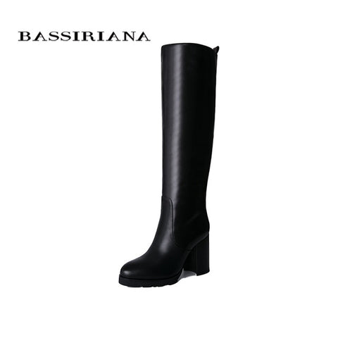 leather black and white rubber platform boots