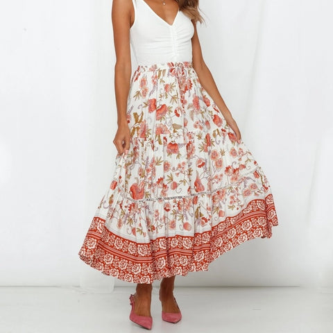 Casual Floral Print Lace Up Maxi Boho Bohemian Skirts