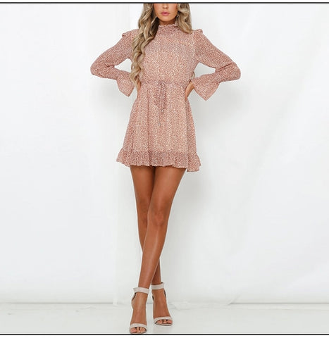 Sashes Ruffles Turtleneck Flare Sleeve Bohemian Dress