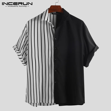 Striped Patchwork Loose Button Up Hip-hop Casual Short Sleeve Shirts
