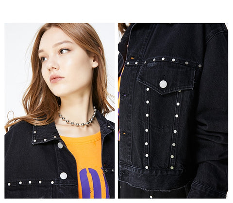 loose rivet short Denim Jacket