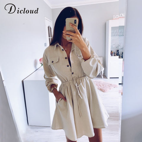 Beige Long Sleeve Mini Cotton Linen Drawstring Waist Casual Minimalist Solid Shirt Dress