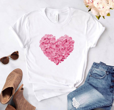 pink heart flower Print Cotton Casual Funny t shirt