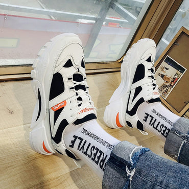 Casual Stylish Black White Breathable Mesh Sneakers Shoes