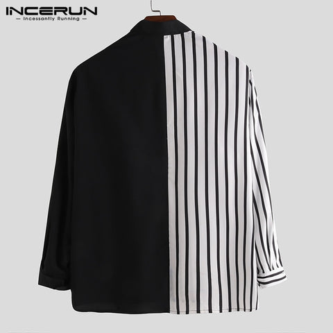 Long Sleeve Striped Patchwork Lapel Collar Chic Casual Dress Shirts