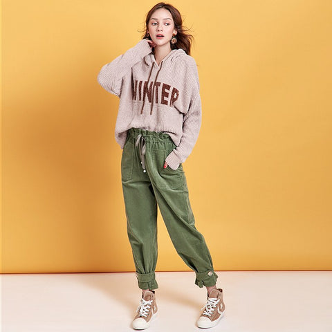 High Waist Casual Pants Corduroy Cargo Pants