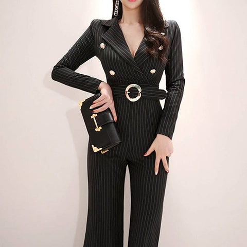 temperament suit collar slim slimming high waist strap wide leg jumpsuit