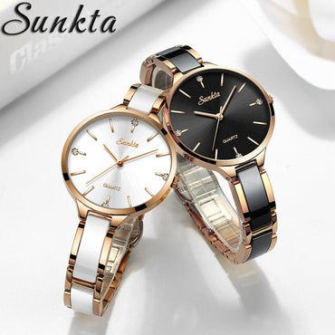 Luxury Gift Crystal Waterproof Rose Gold Steel Strap Wrist Watches
