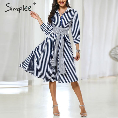 Casual striped Elegant quarter sleeve bow tied Midi Dresses