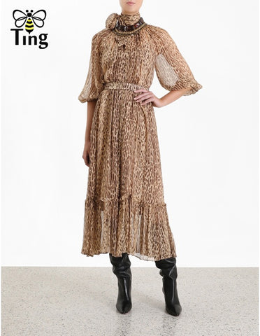 Long Fashion Leopard Dresses