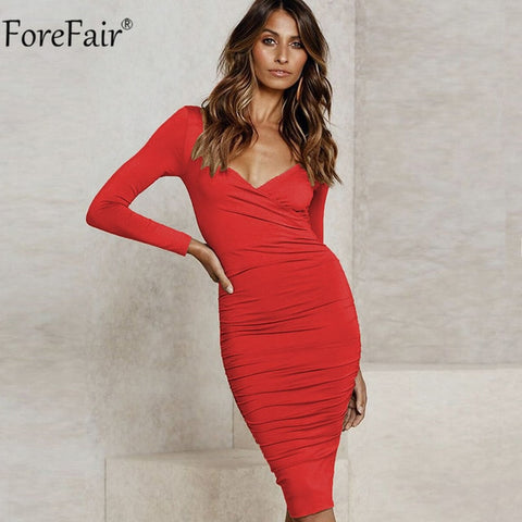 V Neck Bodycon Midi Long Sleeve Ruched Cross Solid Sexy Casual Red Wrap Dresses