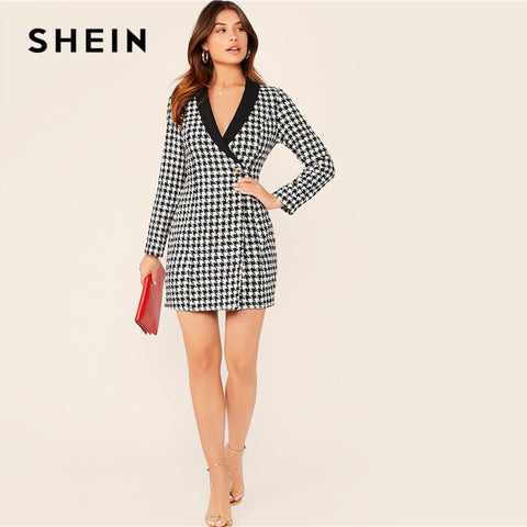 Shawl Collar Button Front Plaid Button Slim Fit Elegant Wrap Dresses
