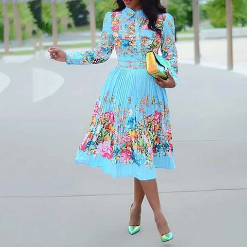 Long Sleeve Pleated Floral Print Dress