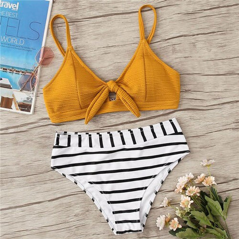 Textured Knot Front Top With Striped Bikini