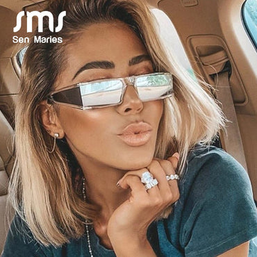 Rectangle Small Luxury Brand Mirror Silver Black Clear Lens Sunglasses