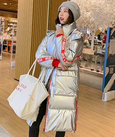 Glossy Down Cotton Long Parka Waterproof Thick Shiny Silver Coats