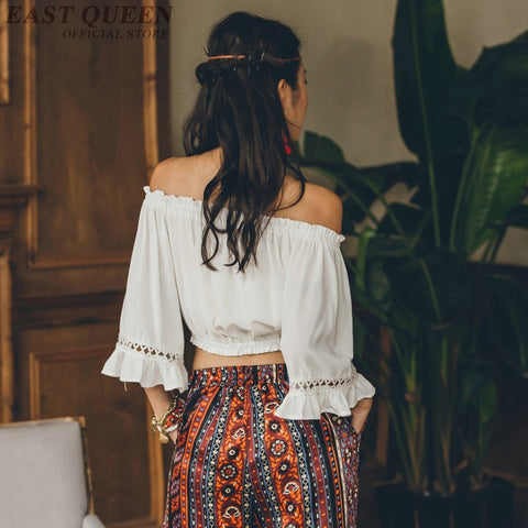 Cold shoulder tops chic Boho Bohemian Tops