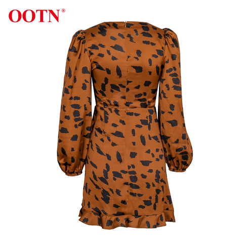 Ruffle Drawstring V Neck Puff Sleeve Sexy Mini Leopard Dress