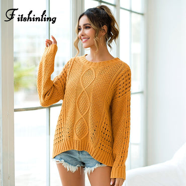 Yellow Slim Pullover Knitted Solid Basic Boho Bohemian Sweaters