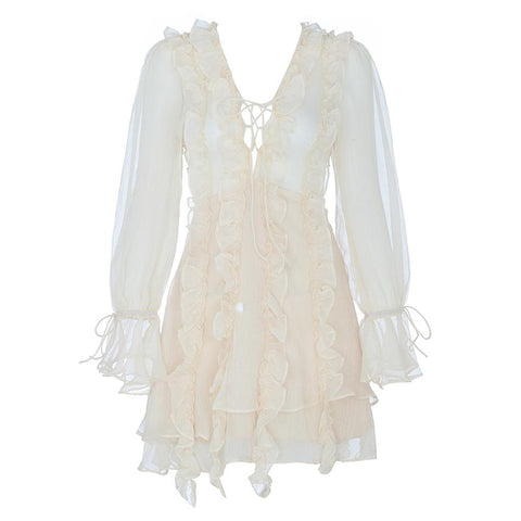 Flare Sleeve Lace up V Neck Runway Ruffle Sexy Mini Dresses