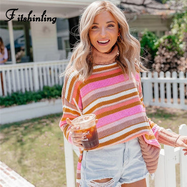Turtlenecks Loose Striped Jumper Knitting Boho Bohemian Sweaters