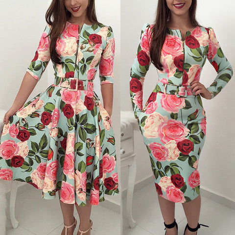 O Neck Long Sleeve High Waist Zipper Floral Dresses