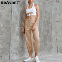 Casual high waist cargo pants