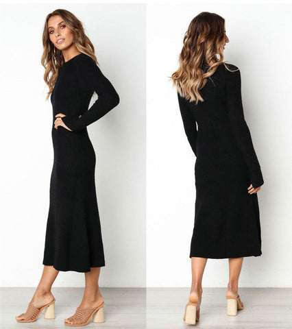 Knitted Casual Sexy V Neck Long Sleeve Elegant Slim Maxi Dresses
