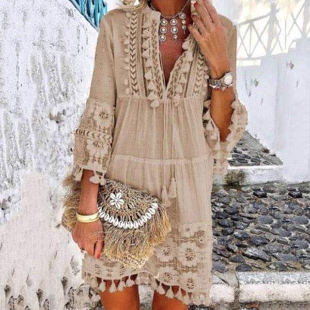 Sexy V Neck Tassel Hollow Out Floral Printed Beach Bohemian Dress
