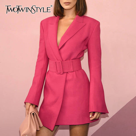 Flare Sleeve Long Sleeve Notched Collar Rose Pink with Belt Office Blazer Dresses