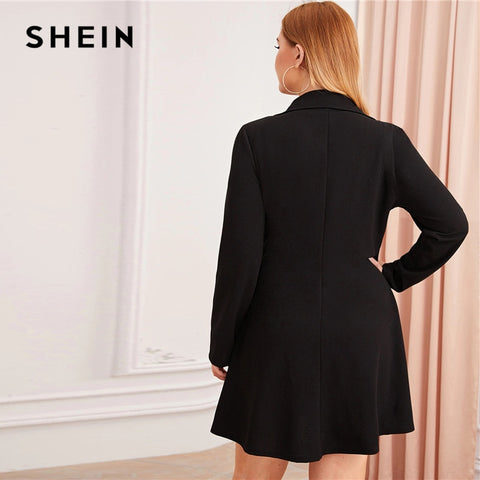 Black Zipper Front Double Button Blazer Dress