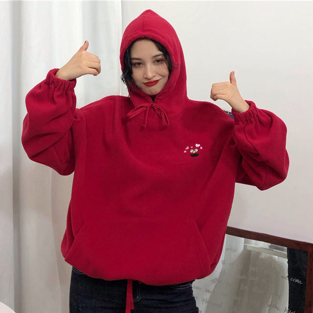 Velvet Pockets Oversize Embroidered Cartoon Hoodies