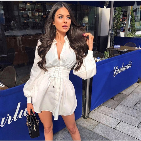 Long Sleeve Sexy Casual Fashion Vintage Corset style Belt Shirt Dress