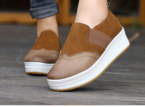 Cow Suede Height Increasing Brogue Flat Shoes