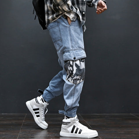 Blue Color Patch Camouflage Pocket Cargo Slack Bottom Spliced Jeans