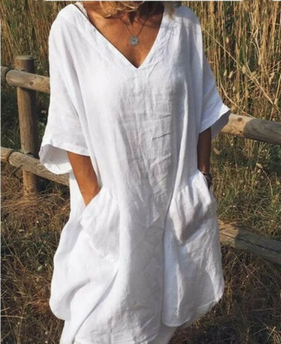 Half Sleeve V Neck Loose Casual Casual Dresses