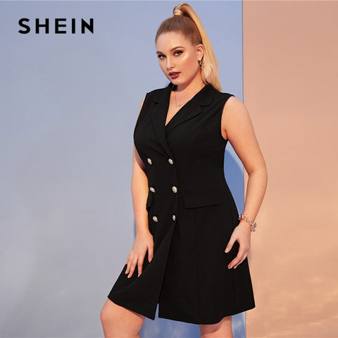 Black Notch Collar Double Breasted Vest Sleeveless Blazer Dresses