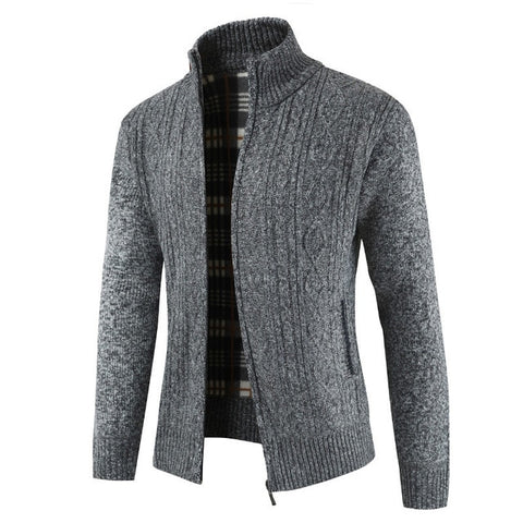 Thick Slim Fit Jumpers Knit Zipper Sweater