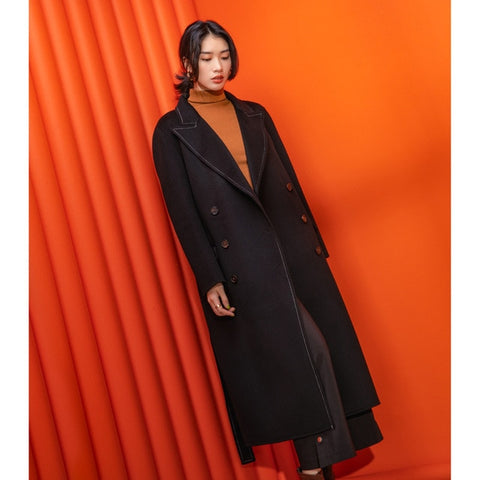 Wool Double Breasted Adjustable Waist Long Coat