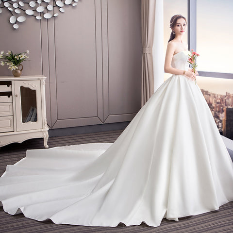 Gorgeous Satin Ball Gown Strapless Lace Up Wedding Dresses