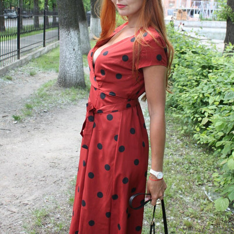 Casual Polka Dot Print A Line Sexy V neck Short Sleeve Long Vintage Dress