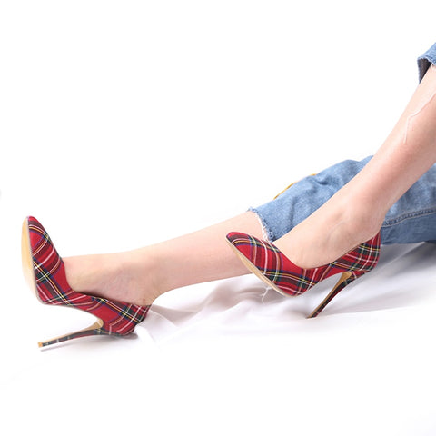 Stiletto Red Pointed Plaid Shallow High Thin Heels